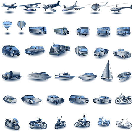Blue Transport Icons Stock Vector - 5666986