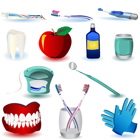 dental braces: Vector ilustraci�n de im�genes de color dental, aisladas sobre fondo blanco