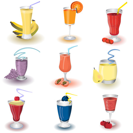 mixed drink: Vector illustration of colored different fruit health shakes. Illustration