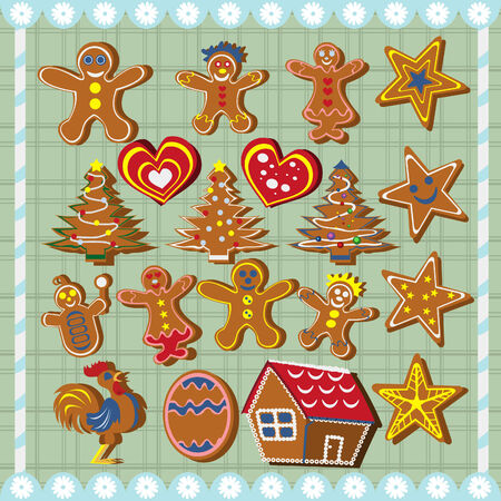 Ginger bread cookies  set Vector