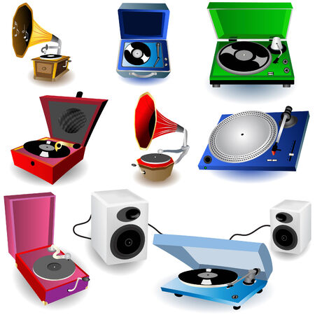 music machine: Vector illustration of eight colored gramophone icons, and loudspeakers. Illustration