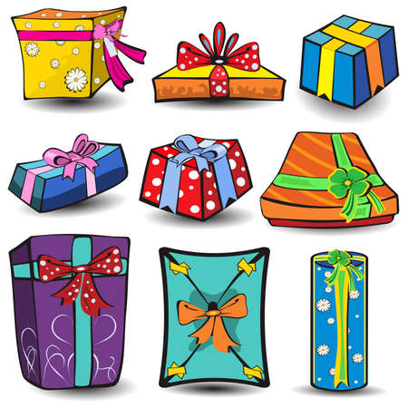 Set of nine different presents, colored vector illustration isolated on white background. Stock Vector - 5699812
