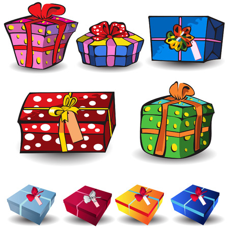 Set of nine different presents, colored vector illustration isolated on white background. Stock Vector - 5699811