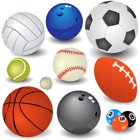 Vector illustration of ten colored sport balls for different activities.