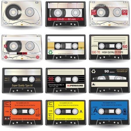 nine realistic audio Cassette Icons Stock Vector - 5961811
