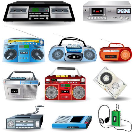 ghetto blaster: Vector illustration of nine different colored cassette player icons Illustration