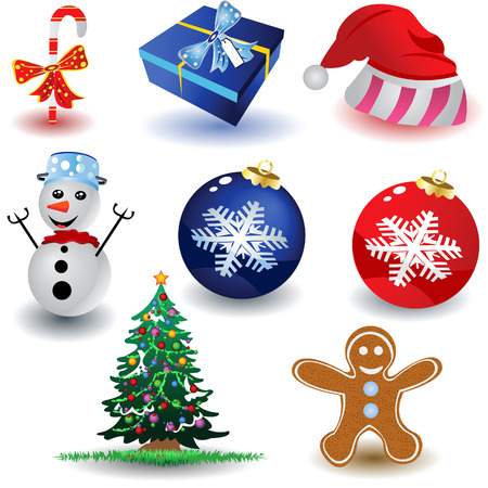 Vector illustration of eight colored and different christmas icons isolated on white background.