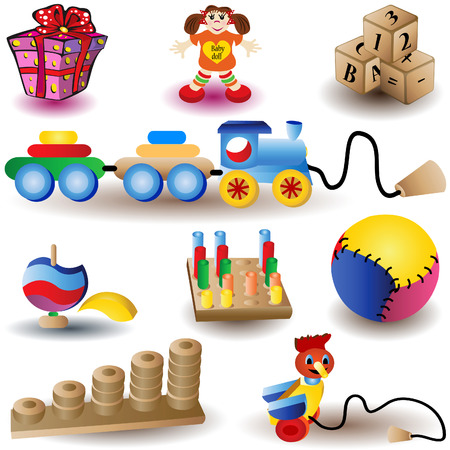 marioneta de madera: Ilustraci�n vectorial de nueve iconos de Navidad color - juguetes