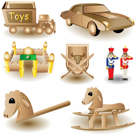 Vector illustration of eight different and colored Christmas toys. Vector