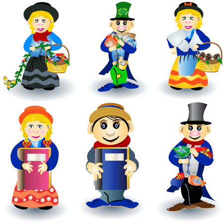 Vector illustration of nine different colored dwarfs in different situations. Vector