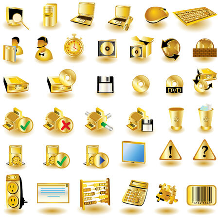 Huge collection of different interface icons in gold color. Illustration