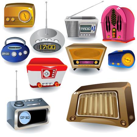 decibel: Vector illustration of ten different high detailed radio icons