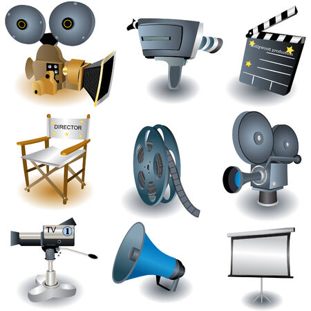 Nine colored and vector illustrated movie equipment Illustration