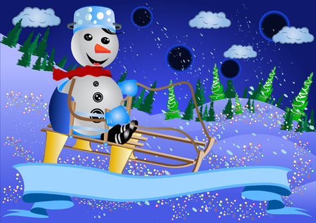 sledging: Vector illustration of a smiling snowman sledging, with a decoration banner.