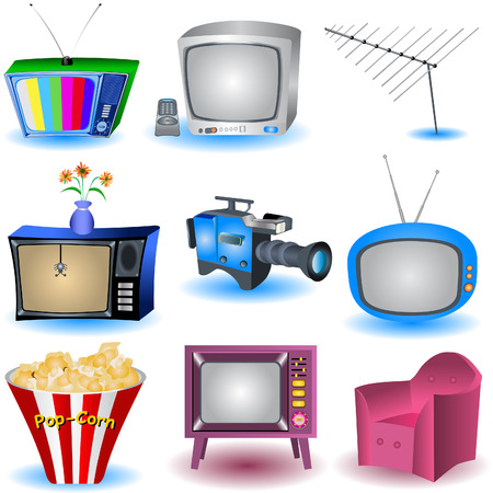 tv remote: Vector illustration of nine TV and similar related icons