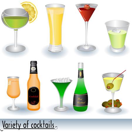 them: Illustrazione vettoriale di vari cocktail e bottiglie a fianco di alcuni di essi.  Vettoriali