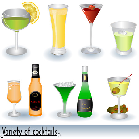 Vector illustration of different cocktails and bottles beside some of them. Illustration
