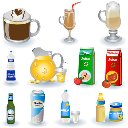 Color vector illustration of different non-alcoholic beverages isolated on white background. Vector