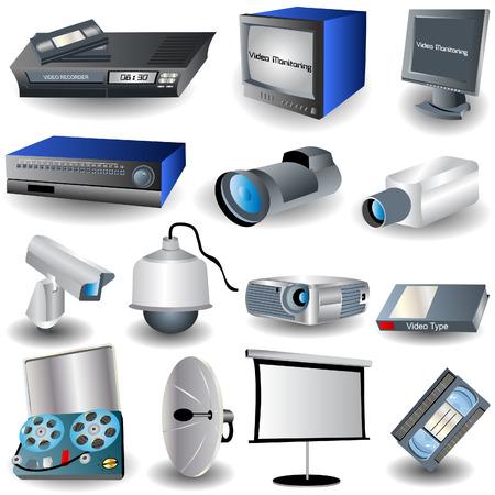 Vector illustratie van verschillende video en camera gerelateerde beelden