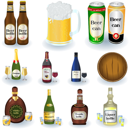Vector illustrated set of different alcohol beverages with a barrel and bottles.