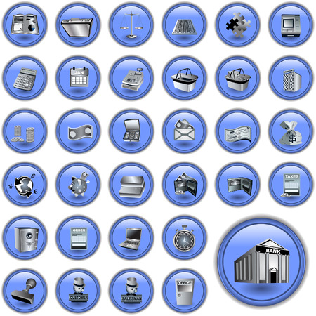 Set of different account blue buttons isolated on white background. Vector