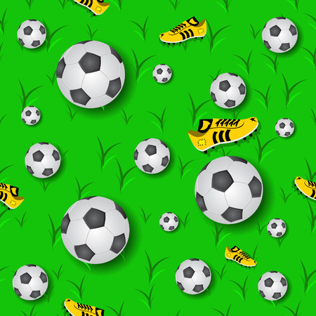 judge players: Vector illustration of colored football (soccer) seamless pattern. Illustration