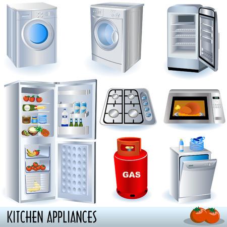 agd: Zestaw urządzeń kuchennych  Ilustracja