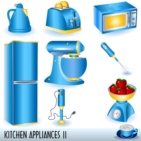 Blue kitchen appliances icons set. Vector