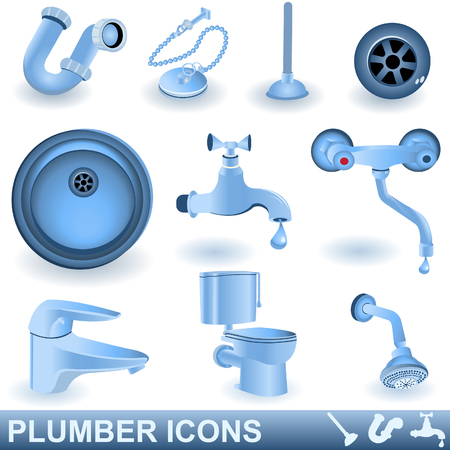 Blue plumber icons set Vector