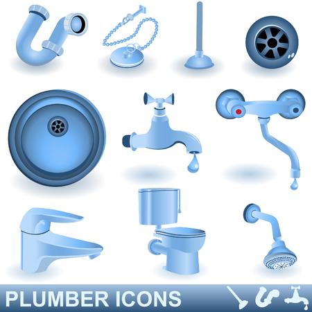 tuberias de agua: Conjunto de iconos de fontanero azul Vectores