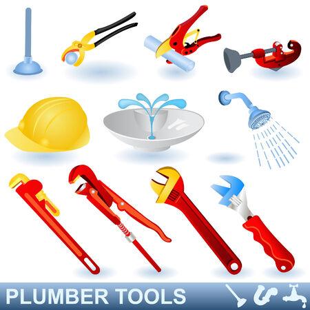 plumber with tools: Herramientas de fontanero Vectores