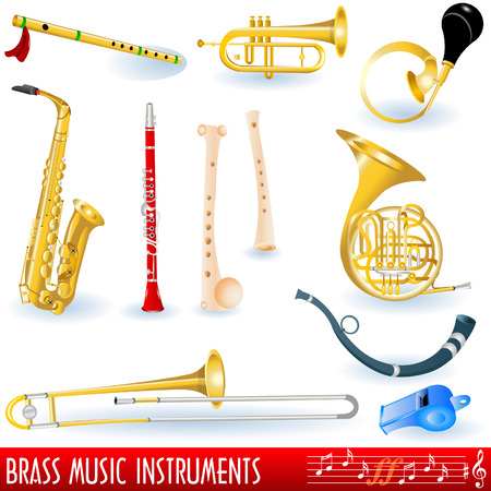 A  collection of brass (wind) musical instruments.