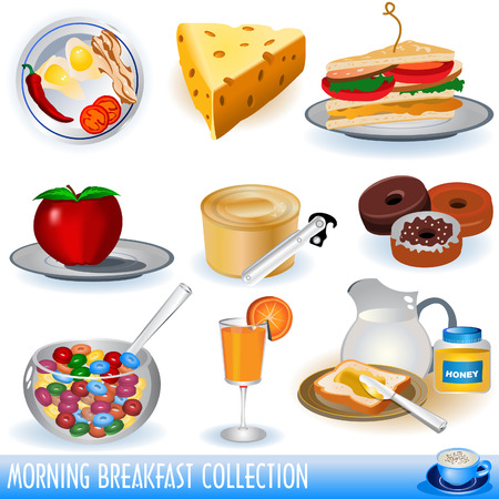 A  collection of different colored breakfast icons.