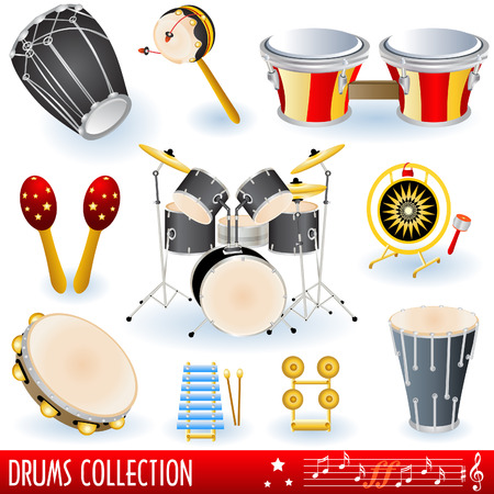 A  collection of drums musical instruments. Vector