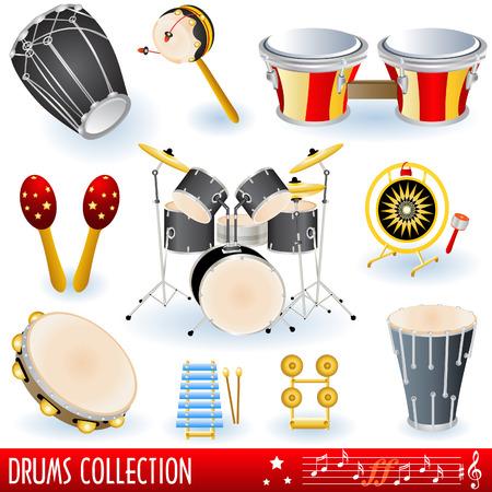 musical instrumen: Una colecci�n de instrumentos musicales de la bater�a.