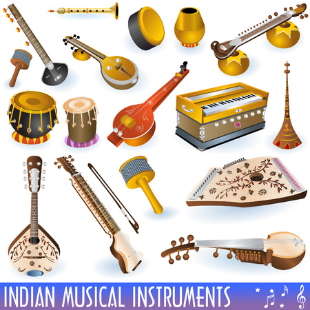 A colored  collection of different traditional Indian musical instruments. Illustration
