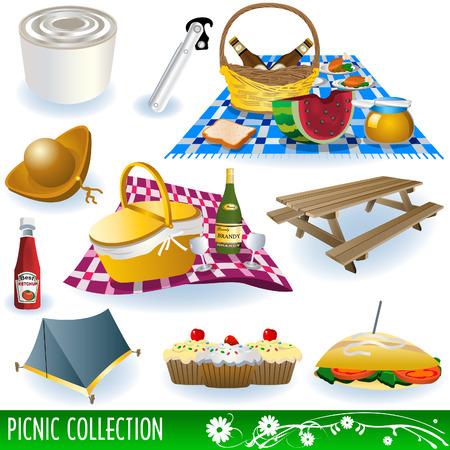 caja de cerillas: Colecci�n de elementos de picnic diferentes: alimentos, bebidas, Banco, frutas y as� sucesivamente.  Vectores