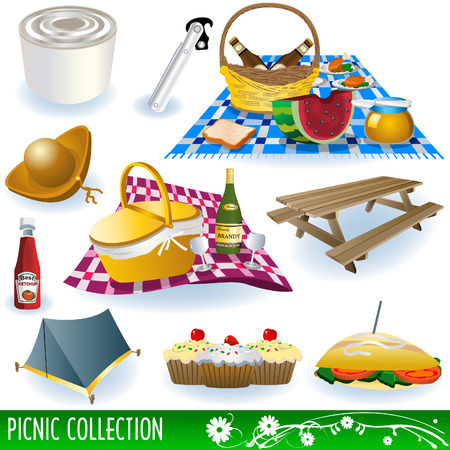 Collection of different picnic elements: food, beverages, bench, fruits and so on.