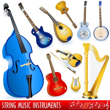 musical instruments: Una colecci�n de instrumentos musicales de la cadena de diferentes.