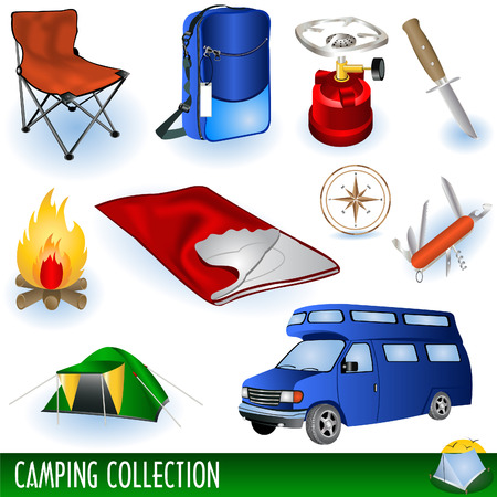 Camp icons collection Illustration