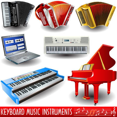 Keyboard music instruments icon set