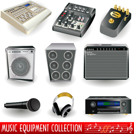 Music equipment icon collection