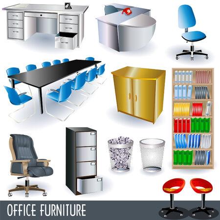 mobilier bureau: Bureau meubles ic�nes ensemble Illustration
