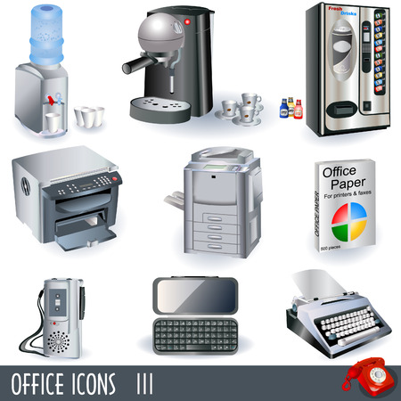 typewriting machine: Office icons set - part 3 Illustration