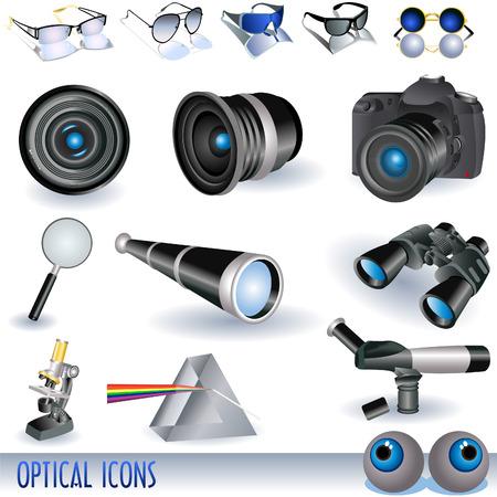 polarizing: Optical icons set Illustration