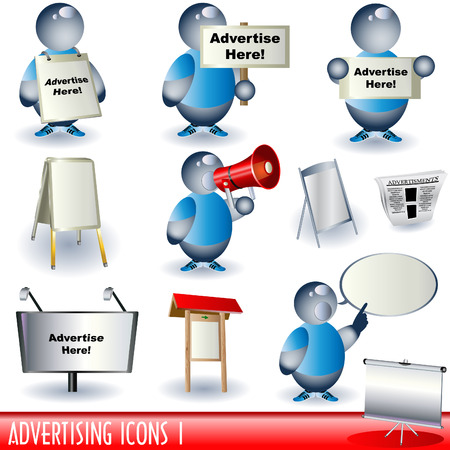 Set of different advertising color icons. Stock Vector - 7100068