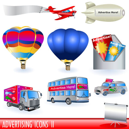 Set of different advertising color icons - part two. Vector