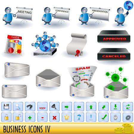 demografia: Conjunto de iconos de negocio, junto con los botones apropiados, parte 4.  Vectores