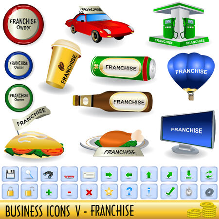 home owner: Set of business icons, franchise, along with appropriate buttons, part 5. Illustration