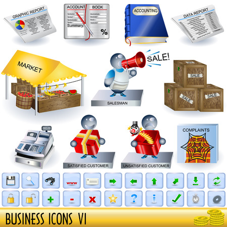 Set of business icons, along with appropriate buttons, part 6. Stock Vector - 7100070